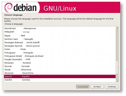 Instalador gráfico de Debian