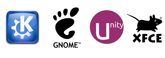 KDE, Gnome, Unity, XFCE, linux desktops
