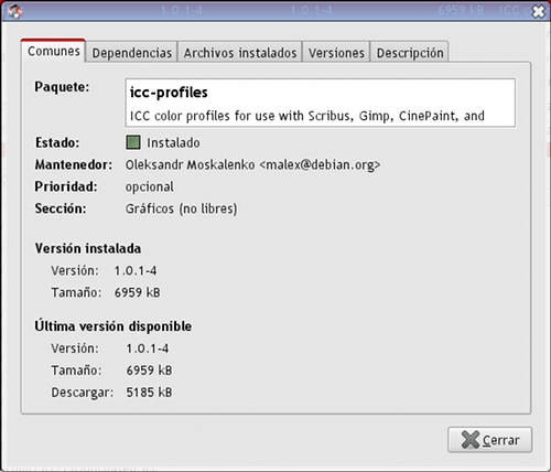 Propiedades del paquete icc-profiles