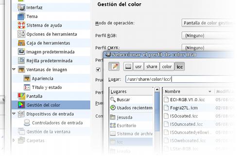 Configurando los perfiles de color en Gimp