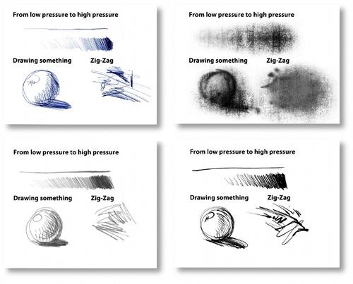 Muestras de pinceles de GIMP Paint Studio