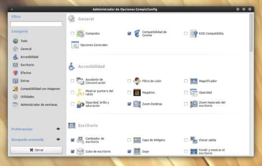 CompizConfig Settings Manager funcionando correctamente