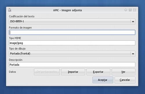 Añadiendo una carátula en JPG al mp3