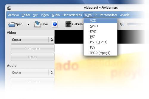Avidemux con preset VCD