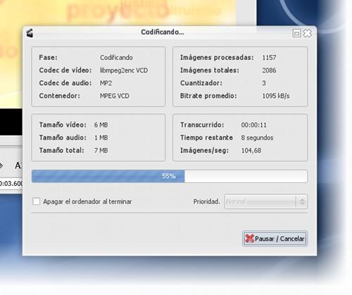 Avidemux codificando VCD