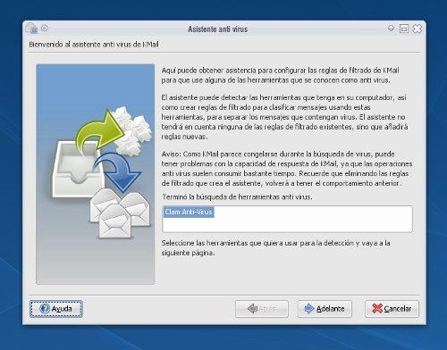 KMail - Asistente antivirus ClamAV