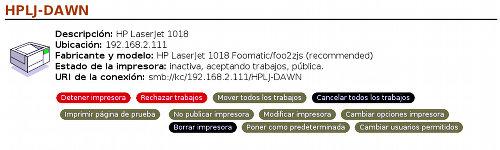 Panel de Control de Impresión CUPS en Linux vía Web