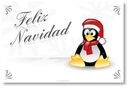 postal navideña de tux gratis