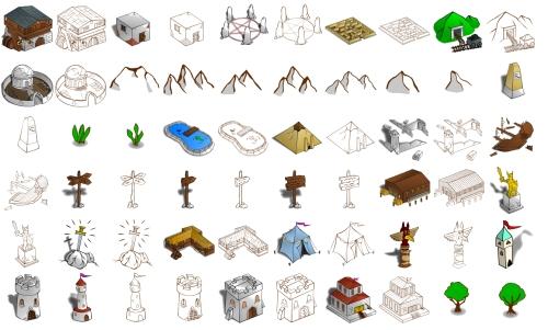 Clip-Arts libres para mapas antiguos y juegos de rol