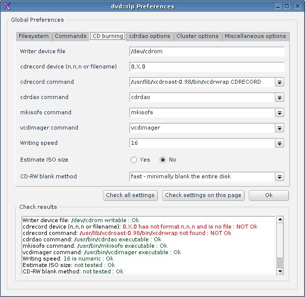 Pestaña de configuración de comandos de Grabación de DVD::RIP