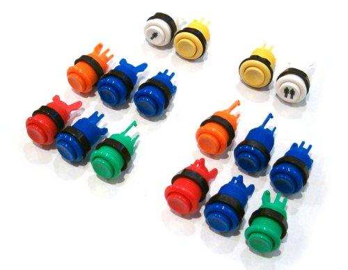 Botones de recreativa simulando su disposición en el mando ya contruido