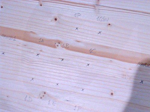 Marcando las referencias en la madera